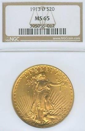 1913 D $20 Gold Piece