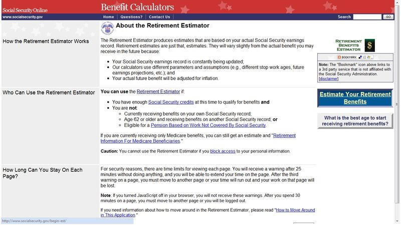 Social Security Benefit Estimator Page