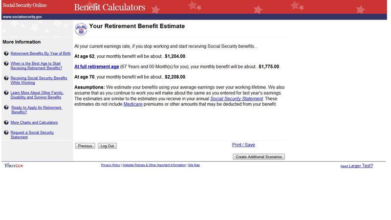Social Security Benefit Estimator Page 4